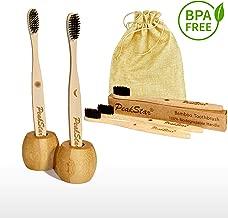 5x Cepillo Dientes Bambu PREMIUM PeakStar | 100% Biodegradable sin BPA | 2 Holders Homenaje + Paquete de Viaje | Cepillos con Finas Cerdas Suaves | ? Eco Vegan Friendly Organic Bamboo Toothbrush