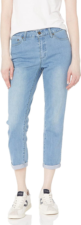 SLIM-SATION Women's Contour Waist 5-Pocket Solid Slim Jean Style Crop Pant