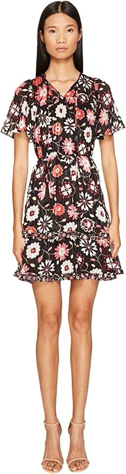 Kate Spade New York Casa Flora Flutter Sleeve Dress