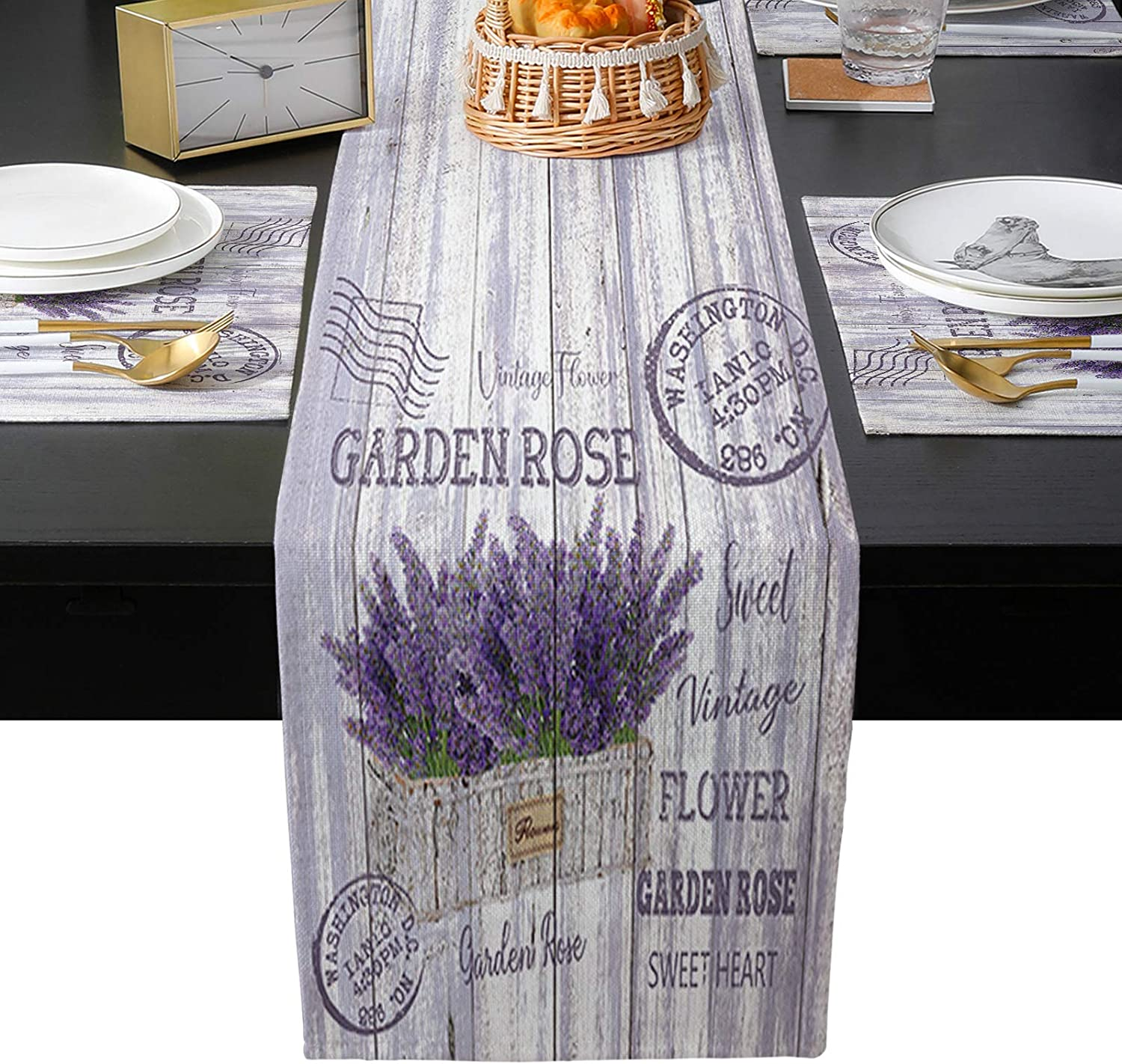 TH XHome Linen Miami Mall Burlap Table Placemats-Purple and Runner Max 57% OFF Lavende
