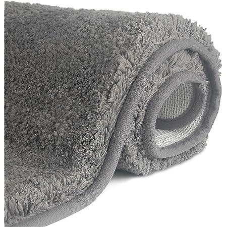 FCSDETAIL Tapis de Bain Antidérapant à Poils Longs en Microfibre, Tapis de Sol Lavable en Machine avec Microfibre Douces Absorbant l'eau pour la Baignoire, la Douche et la Salle de Bain