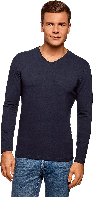 oodji Ultra Hombre Camiseta de Manga Larga con Escote Pico