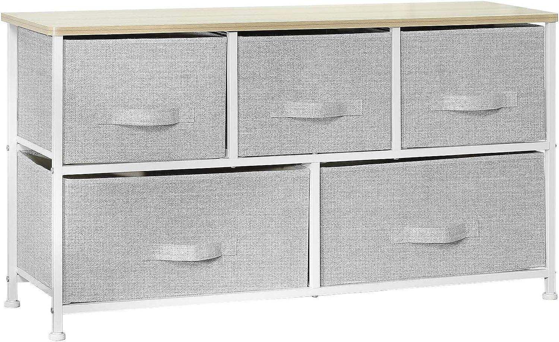OWNFUN Arcalt Fabric Storage Dresser Organizer for Bedroom Hallway Entryway (5 Drawers, Gery)
