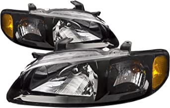 HEADLIGHTSDEPOT Compatible with Nissan SE-R Spec V New Black Headlights Set Headlamps Pair