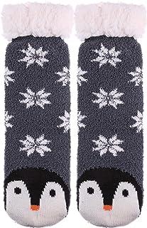 AOXION Women's Soft Warm Cute Animal Fuzzy Fleece Lining Knitting Non-Slip Winter Slipper Socks