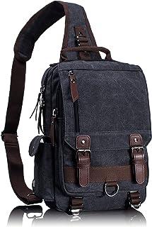 Leaper Canvas Message Sling Bag Outdoor Cross Body Bag Messenger Shoulder Bag (MediumBlack)