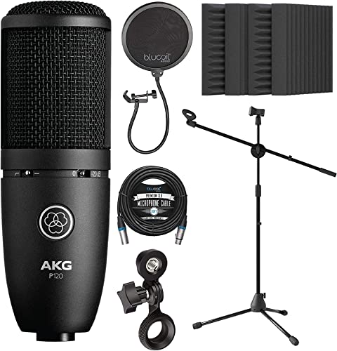 new arrival AKG P120 Large-Diaphragm Condenser Microphone for online Vocals, Pianos, String Instruments Bundle new arrival with Blucoil 20-FT Balanced XLR Cable, Pop Filter, Adjustable Mic Stand, and 4X 12 Acoustic Wedges online sale
