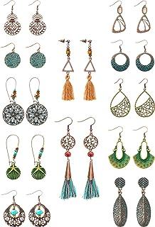 12 Pairs Vintage Boho Earrings Geometric Dangle Pendant Earrings Turquoise Earrings for Women Girls Supplies