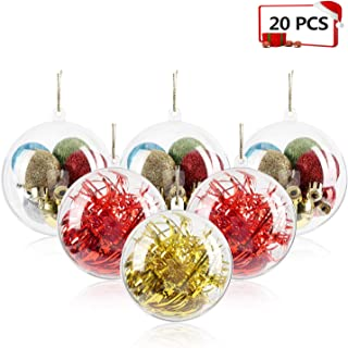 Mbuynow 20 Pack 80mm Clear Ornaments Balls, DIY Plastic Fillable Christmas Decorations Tree Balls Baubles Craft Transparent Ball Gifts for Wedding Party Decor