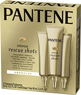 Pantene Rescue Shots Hair Ampoules Treatment, Pro-V Intensive Repair of Damaged Hair, 0.5 fl oz, Triple Pack