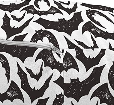 Ambesonne Autumn Ottoman Pouf, Scary Bats Sketch Time of The Year Halloween Theme on Plain Background, Decorative Soft Foot R