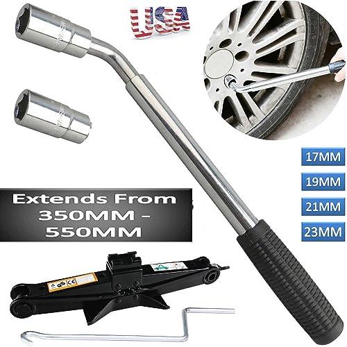 high quality Bowoshen 17 19 21 & 23mm Extendable Wheel Wrench outlet sale Car Van Socket Tyre online Nut + 2 Ton Scissor Jack 90-360MM outlet sale