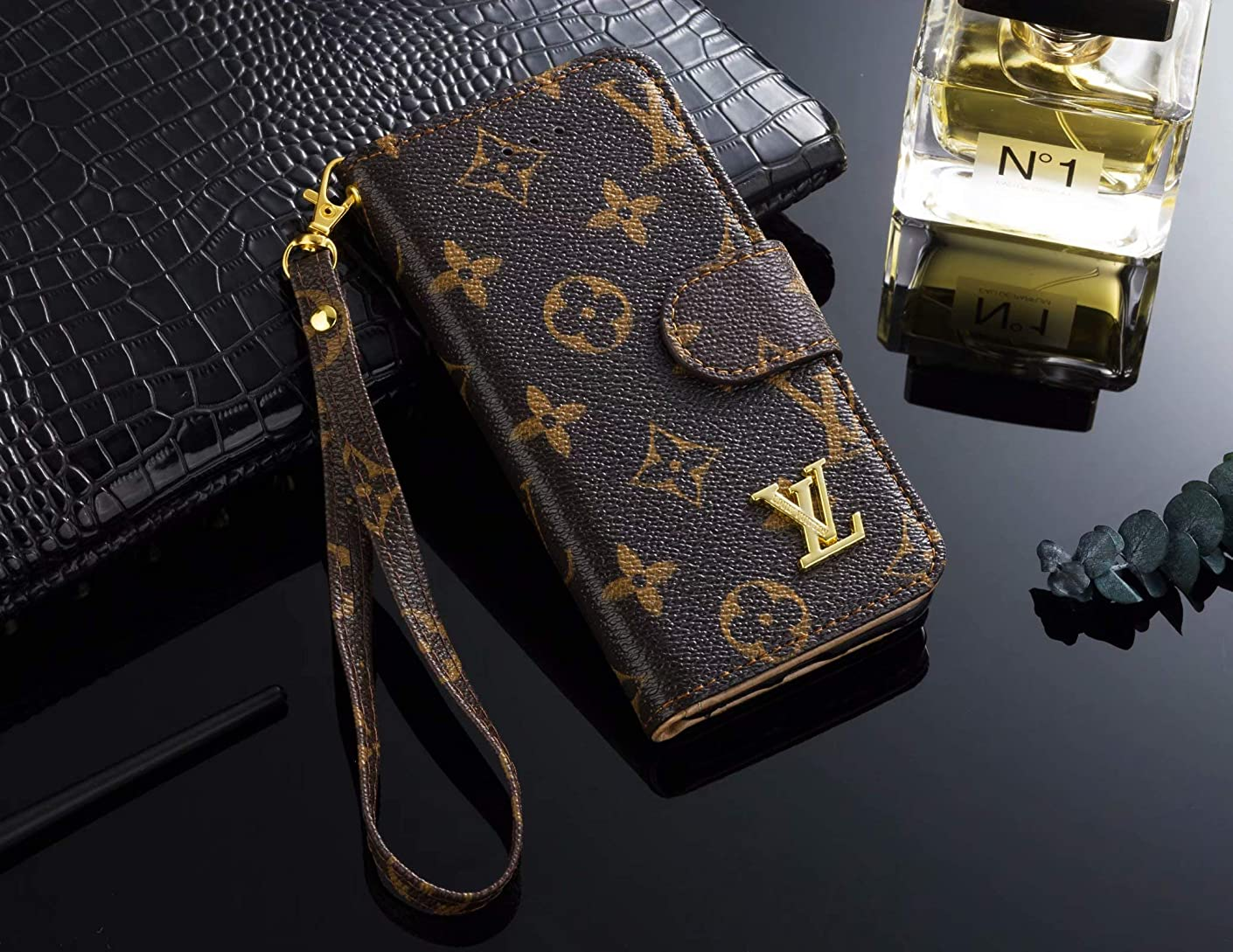 iPhone XR Case,Monogram Magnetic Leather Flip Filo Card Cash Holder Luxury Famous Elegant Strap Wallet Case Cover for iPhone XR