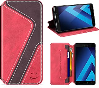 Smiley Samsung Galaxy A5 2017 Wallet Case, Mobesv Samsung A5 2017 Leather Case/Phone Flip Book Cover/Viewing Stand/Card Holder for Samsung Galaxy A5 (2017), Stylish Red/Dark Violet
