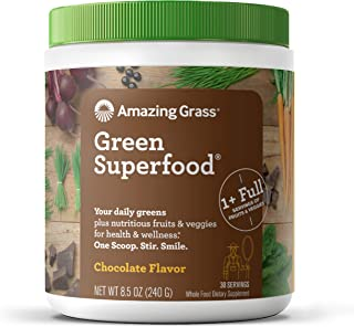 Amazing Grass Green Superfood: Super Greens Powder with Spirulina, Chlorella, Digestive Enzymes & Probiotics, Chocolate, 3...