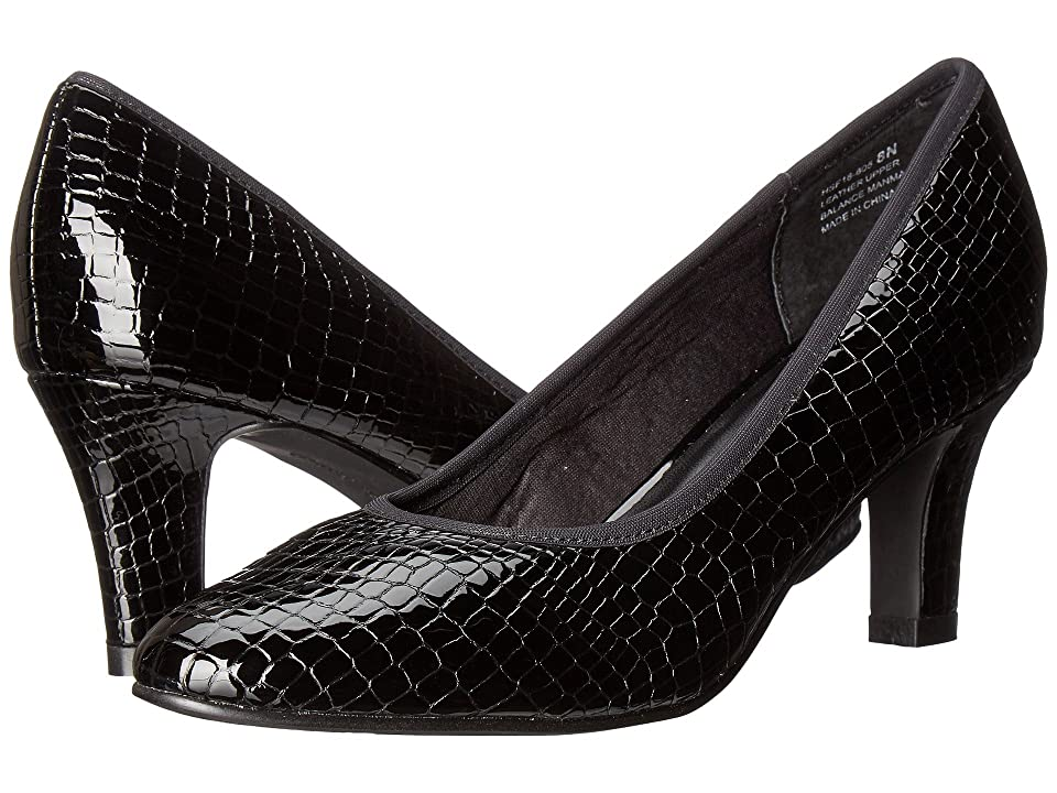 David Tate Peggy (Black Croc Patent Print) Women