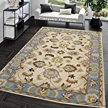 Carpet Palace Handmade Modern Superfine Pure Wool Carpet for Living Room,Bedroom,Daining Room and Hall 180X275Cms 6 Feet by 9 Feet Ivory & Sky Blue Color