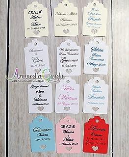 Cartellini per bomboniera personalizzati, vari colori, 30x45 millimetri, a partire da 20 pezzi, bomboniere, multicolor, et...