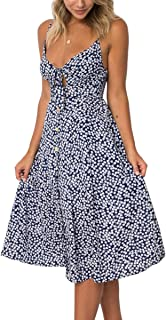 ECOWISH Womens Dresses Summer Tie Front V-Neck Spaghetti Strap Button Down A-Line Backless Swing Midi Dress