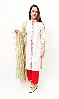 House Of Zafeera Women's Kurti & Palazzo with Dupatta Set Cream & Red Size Large