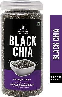Naturevibe Botanicals Organic Black Chia Seeds - 300gm | Weight Loss