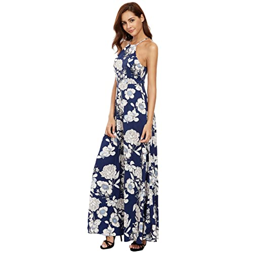 4323229fc967 Floerns Women s Sleeveless Halter Neck Vintage Floral Print Maxi Dress