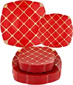 "N9R 50PCS Red Plastic Plates with Gold Plaid, Premium Heavy Duty Plastic Wedding Plates Includes 25 Dinner Plates 10.25"", 25 Dessert Plates 7.5"""