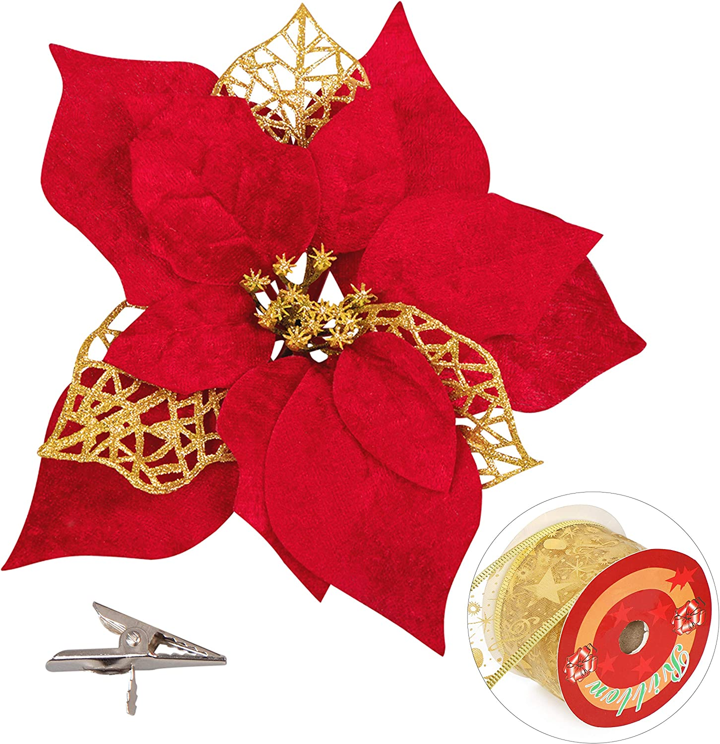 20 Pieces Christmas Poinsettia Artificial Flowers Decorations&20 Clips &11 Yard Ribbon - Xmas Party Tree Wreath Ornaments Glitter