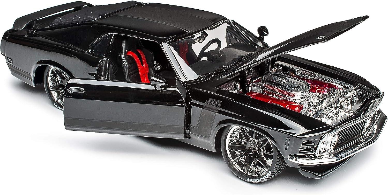 Generation 1969-1970 1//24 Maisto Modell Auto mit individiuellem Wunschkennzeichen Ford Mustang Boss 302 Coupe Tuning Schwarz mit Streifen Typ I 3