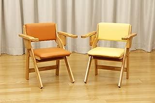肘付き折りたたみ椅子 オレンジ