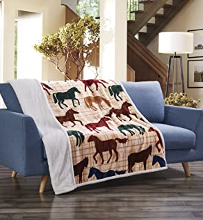 Virah Bella Colorful Horses Beige Plaid Flannel Throw Blanket with Sherpa Backing 50