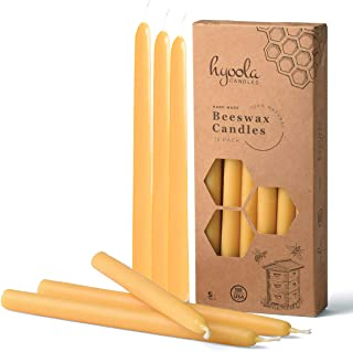 """9"""" Beeswax Taper Candles 12 Pack – Handmade, All Natural, 100% Pure Scented Bee Wax Candle - Tall, Decorative, Golden Yellow – 5 Hour Burn Time"""