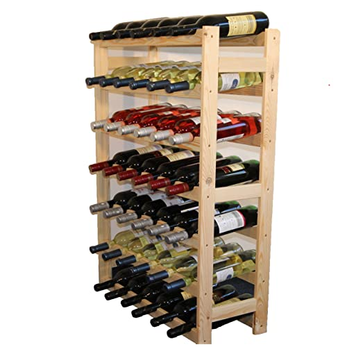Modo24Étagère à vin en Bois, Non traité, Bois, unbehandelt, 63.0 x 25.0 x 102.0 cm