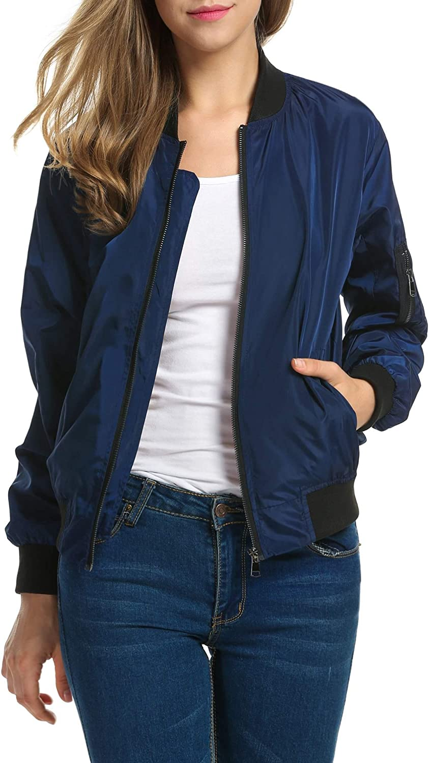 Zeagoo Womens Jacket Plus Size Bomber Jackets Lightweight with Pockets Zip Up Quilted Casual Coat Outwear(Navy Blue, XX-Large)