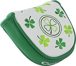 Craftsman Golf Shamrock Clover Lucky Four Leaf Clover Mallet Putter Cover for Heel Shaft Putter with Free Ball Marker