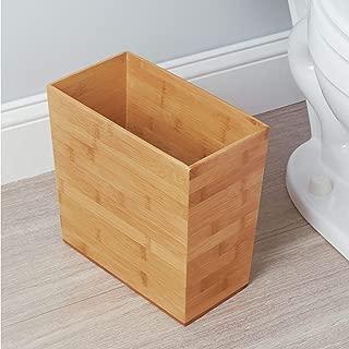 iDesign Formbu Wood Wastebasket, Small Square Trash Can for Bathroom, Bedroom, Dorm, College, Office, 10.5
