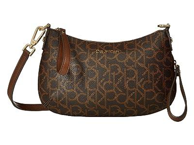 Calvin Klein Elaine Monogram Small Crossbody (Brown/Khaki/Luggage Saffiano) Cross Body Handbags