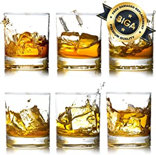 Whiskey Rocks Glasses with Heavy Base and Lead-Free Crystal for Vodka Bourbon Whisky Scotch Liquor 10 oz Set of 6 Thanksgiving Day Gift for Him