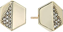 LAUREN Ralph Lauren - Minimal Metal Gold and Pave Hexagon Stud Earrings