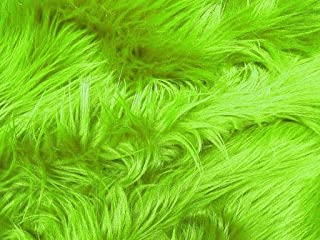 Solid Shaggy Faux/Fake Fur Fabric-Lime Green-Long Pile 60