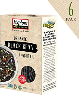 Explore Cuisine Organic Black Bean Spaghetti (6 Pack) – 8 oz – High Protein,..