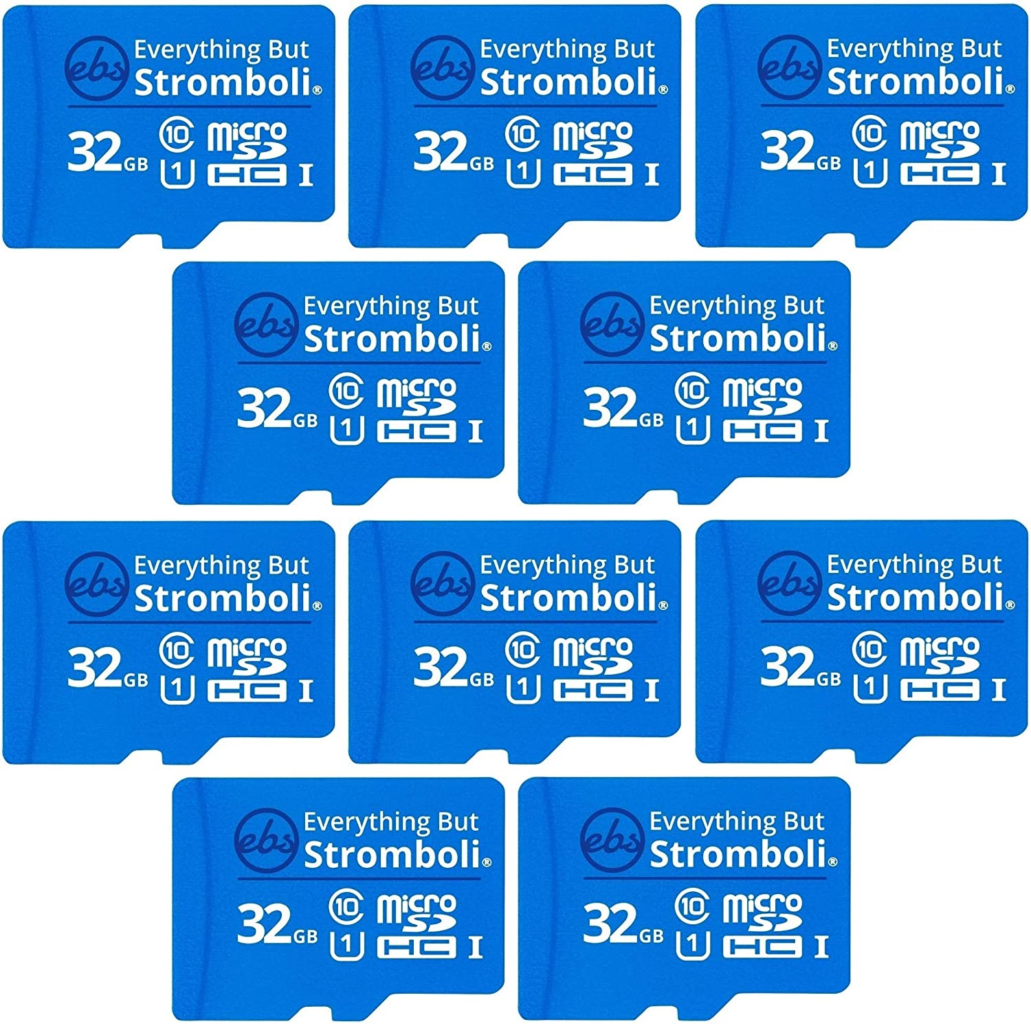 Everything But Stromboli 32GB MicroSD Memory Card Plus Adapter (10 Pack) Class 10, U1, UHS-1, TF Bulk Micro SD Cards for Compatible Dash Cam, GPS, Home Security Cam, Computer, Raspberry Pi, GPS Device
