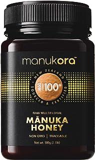 Manukora MGO 100+ Multifloral Raw Mānuka Honey (500g/1.1lb) - Authentic Non-GMO New Zealand Honey, UMF & MGO Certified, Tr...