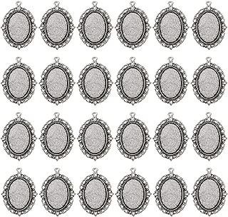 24 PCS Bezel Pendant Trays Oval Cabochon Settings Trays Pendant Blanks