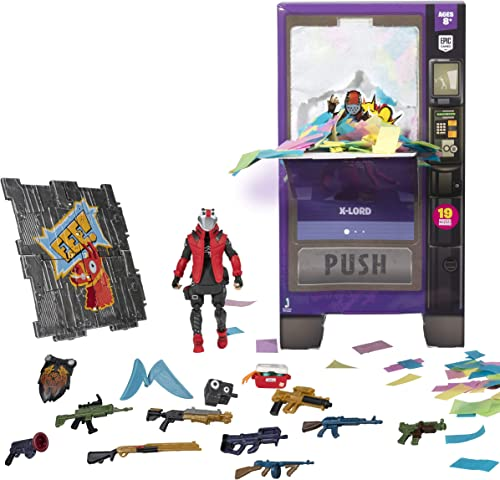 lowest Fortnite Vending Machine, Features 4 Inch discount X-Lord Action Figure, Includes 9 online sale Weapons, 4 Back Bling, and 4 Building Material Pieces outlet online sale