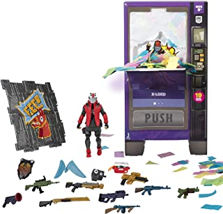 Fortnite Vending Machine, Features 4 Inch X-Lord Action Figure, Includes 9 Weapons, 4 Back Bling, and 4 Building Material ...