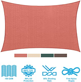 PHI VILLA Sun Shade Sail Rectangle 8'x12' Terra Cotta Patio Canopy Cover - UV Bloack - for Patio, Garden, Yard, Pergola