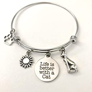 Life is Better with a Cat Charm Bracelet for Pet Lovers Kitten Jewelry - Small-Med