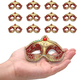 12PCS Mini Masks Party Decoration Supper Small Mini Masks Mardi Gras Birthday Party Table Decoration Cupcake Topper