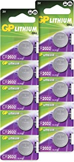 CR2032 Battery 3V Lithium – Pack of 10 – (CR 2032 / Batteries CR2032 / DL2032 / ECR2032/) GP Extra By GP Batteries Ideal for CMOS - Remotes – Head Torch - Tea Light Candles – Toys – Keyfob – Scales.